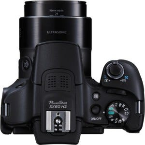 Canon Powershot SX60 HS zoom top