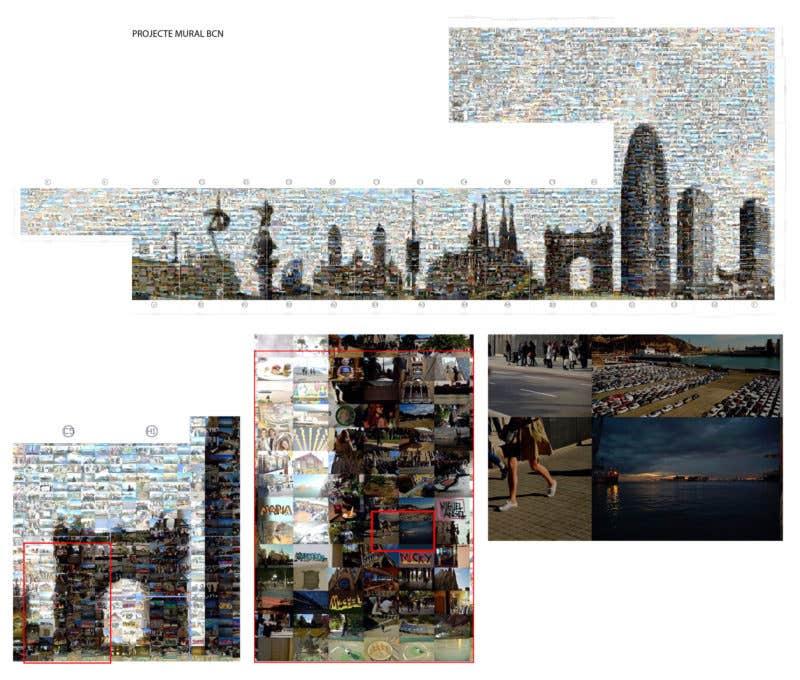 Pequeño desglose del conjunto, sucesivos detalles del proyecto, un vidrio y una fotografía, cuya anchura es de unos 25 cm.